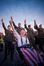 Image of veterans at DNC in support of Obama