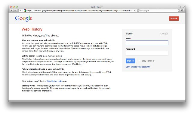 Image of Google Web History