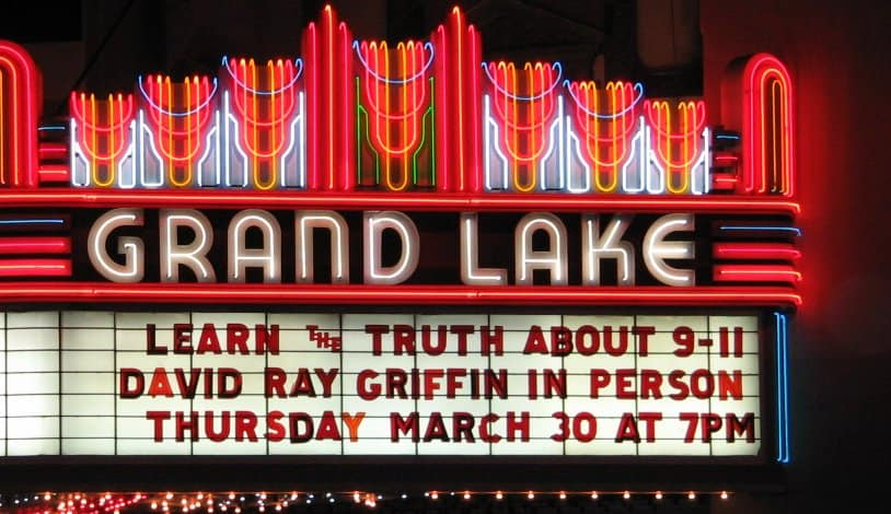 Grand Lake Theater Marquee Announcing the Appearance of David Ray Griffin