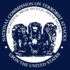Image of satirical 9/11 commission seal: see, hear, speak no evil